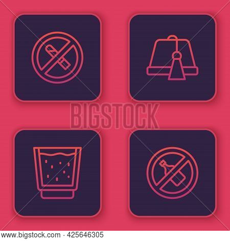 Set Line No Smoking, Glass With Water, Turkish Hat And Alcohol. Blue Square Button. Vector