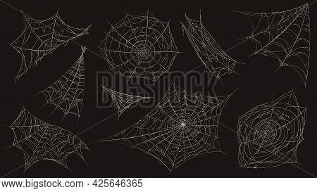Spider Web. Halloween Cobweb Spooky Decoration. Corner With Old Dusty Spiderweb Hanging. Creepy Deco