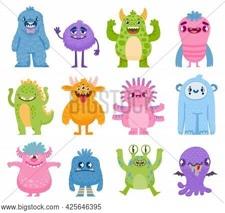 Funny Monsters. Cartoon Cute And Scary Creatures With Horns And Teeth. Halloween Monster And Alien C