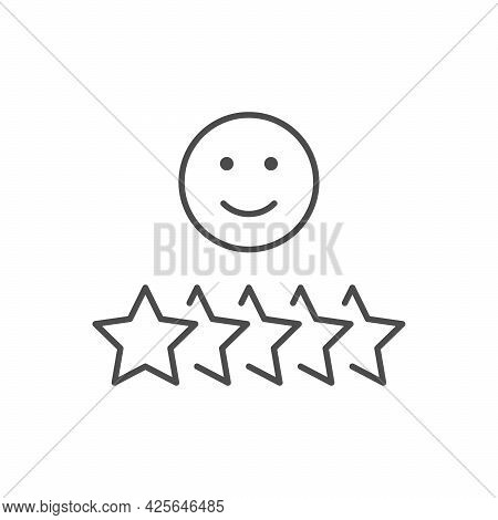 Positive Testimonial Line Outline Icon Isolated On White