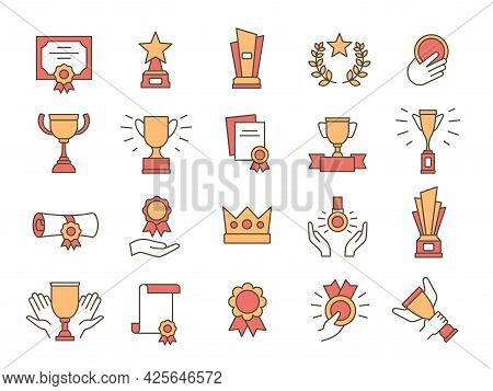 Trophy Icons. Award Winner Golden Cups And Prize. Premium Quality Certificate, Diploma With Medal An