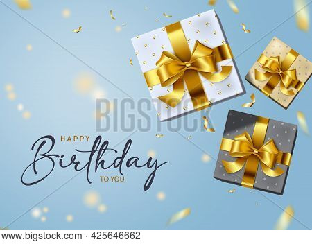 Happy Birthday Vector Background Design. Happy Birthday To You Text With Surprise Elements Like Gift