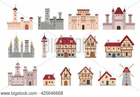 Medieval Buildings. Ancient European Town And Village House, Cottage And Windmill. Cartoon Tower, Ca