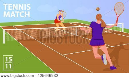 Illustration With Two Woman Tennis Players In Tennis Court. Tennis Match Sport Concept. Vector Flat