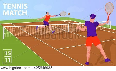 Illustration With Two Man Tennis Players In Tennis Court. Tennis Match Sport Concept. Vector Flat Ar