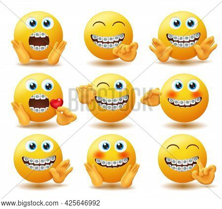 Emoji Braces Emoticon Vector Set. Emojis In Dental Brace Characters With Rich And Soft Hand Gestures