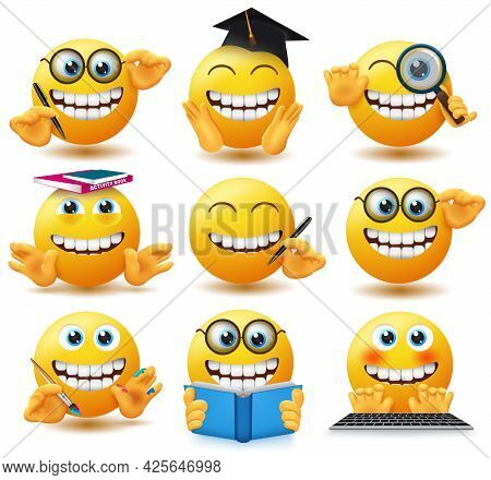 Emoji School Student Emoticons Vector Set. Emoticon Emojis In Happy And Jolly Expression With Educat