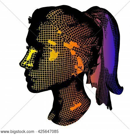 Wow Pop Art Face. Sexy Surprised Girl, 3d Mesh. Vector Colorful Background In Pop Art Retro Comic St