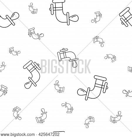 Seamless Pattern Of Ecological Icons. Faucet With A Drop Of Water. Isolated On White Background. Vec
