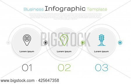 Set Line Helicopter Landing Pad, Unknown Route Point And Traffic Light. Business Infographic Templat