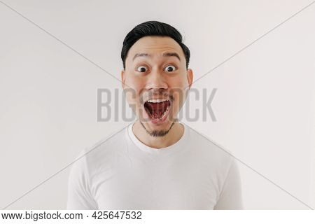 Funny Shocked And Surprised Face Of Asian Man Isolated On White Background.