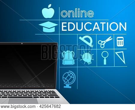 Online Education Vector Banner Design. Online Education Text With Elearning Laptop Device And School