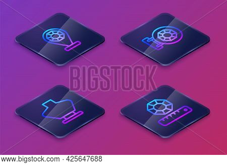 Set Isometric Line Jewelry Store, Necklace On Mannequin, And Gem Stone. Blue Square Button. Vector