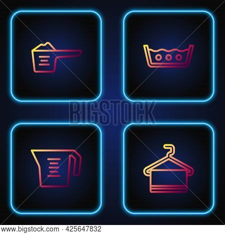 Set Line Towel On Hanger, Measuring Cup, Washing Powder And Temperature Wash. Gradient Color Icons.