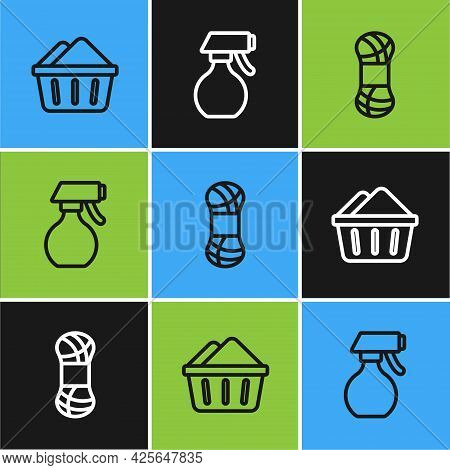 Set Line Basin With Soap Suds, Yarn And Water Spray Bottle Icon. Vector