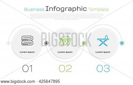 Set Line Towel Stack, Basin With Soap Suds And Iron And Ironing Board. Business Infographic Template