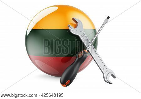 Service And Repair In Lithuania Concept. Screwdriver And Wrench With Lithuanian Flag, 3d Rendering I