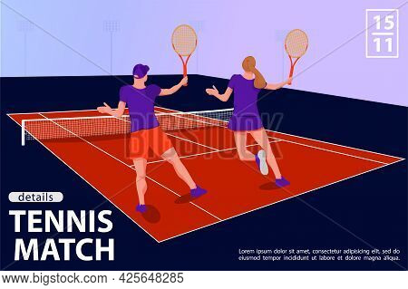 Illustration With Two Tennis Players In Tennis Court. Tennis Match Sport Concept. Vector Flat Art.