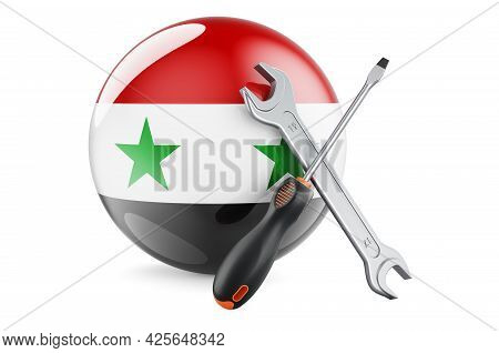 Service And Repair In Syria Concept. Screwdriver And Wrench With Syrian Flag, 3d Rendering Isolated