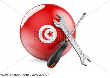 Service And Repair In Tunisia Concept. Screwdriver And Wrench With Tunisian Flag, 3d Rendering Isola