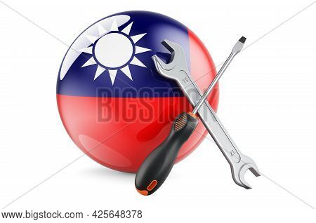 Service And Repair In Taiwan Concept. Screwdriver And Wrench With Taiwanese Flag, 3d Rendering Isola
