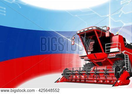 Digital Industrial 3d Illustration Of Red Advanced Farm Combine Harvester On Luhansk Peoples Republi
