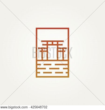 Traditional Torii Gate Minimalist Line Art Logo Template Vector Illustration Design. Simple Modern L
