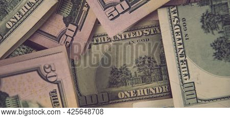 Financial Background Banner Of Mess Us Dollar Paper Cash Banknotes. Flat Lay Of Fifty And One Hundre