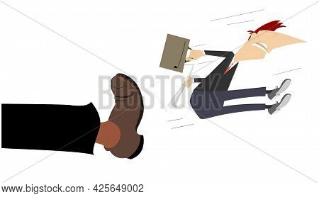 Leg In Boot Kicks A Man To The Buttocks Illustration. Man With A Bag And Papers Is Been Given A Kick