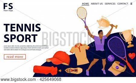 Sports Winning Concept With Man Player Holding Tennis Racket And Gold Award Cup. Tennis Sportsman Wi