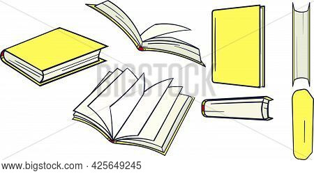 Big Set Of Yellow Books Hand Drawn From Different Angles.