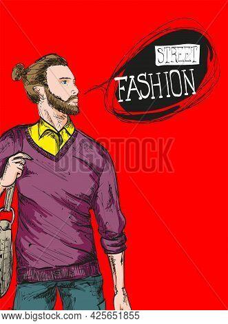 Fashion man. Sketch of fashion man on a red background. Spring man. Street style