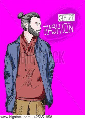 Fashion man. Sketch of fashion man on a purple background. Spring man. Street style