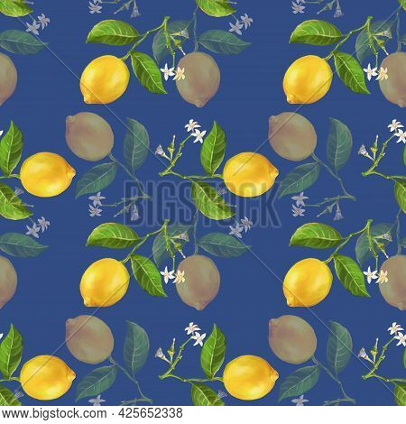Seamless Pattern With Lemons And Lemon Flowers, A Bright Color Illustration Drawn By Hand In A Reali