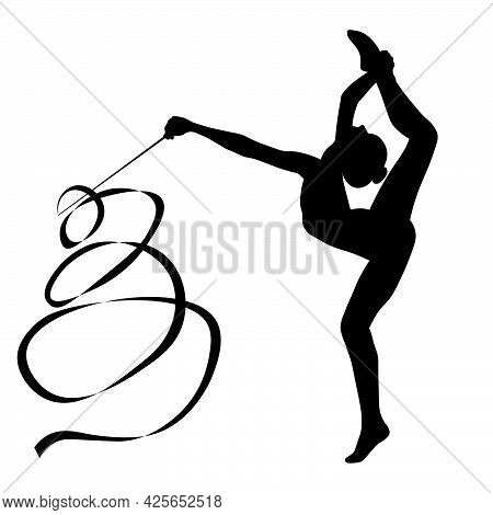 Black-and-white Silhouette Image Of The Figures Of Sportswomen, Gymnastics, Exercises With Objects-a