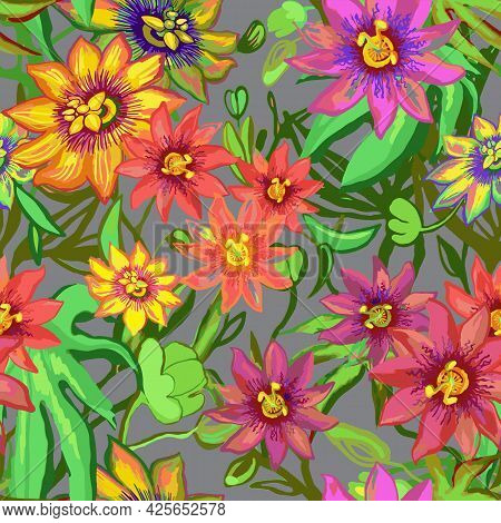 Tropic Exotic Flowers Seamless Pattern. Passiflora, Orchid, Plumeria. Isolated On Grey Background Wi