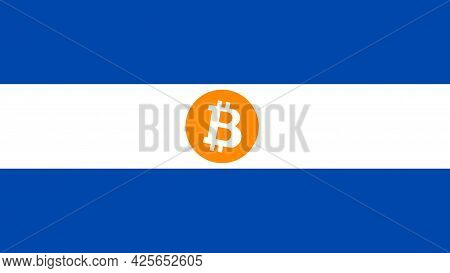 National Flag Of El Salvador And Vitcoin Icon. Vector Illustration.