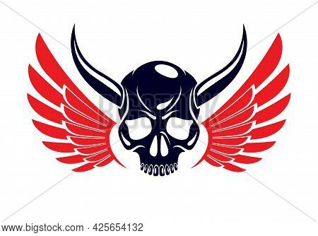 Devil Sign Horned Skull Vector Illustration Classic Style Tattoo, Dead Scull With Animal Horns Wings