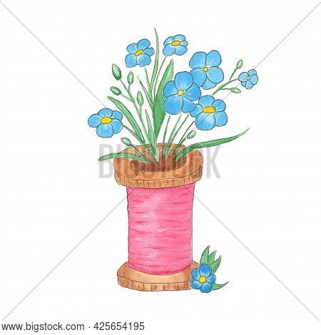 A Spool Of Thread Decorated With Flowers. Watercolor Drawing Of Flowers In A Spool. Print For Wallpa