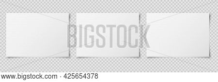 Set Of Three White Realistic Horizontal Blank Paper Pages With Shadow Isolated On Transparent Backgr