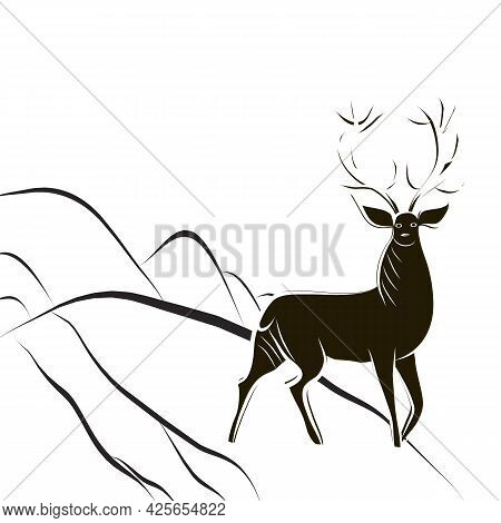 Red Deer Buck With Large Antlers. Black And White Hand-drawn Deer Stands On Hillside. Cervus Contour