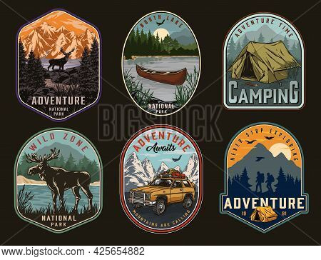 Camping And National Park Vintage Labels With Moose Travel Car Deer Tent Wooden Canoe On Lake Travel