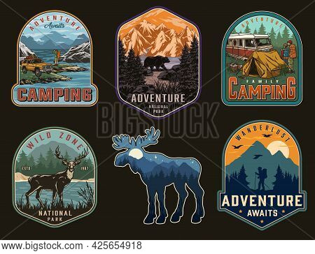 Adventure Time Vintage Labels With Travel Car Motorhome Bear Deer Family Couple Travelers Tourist On