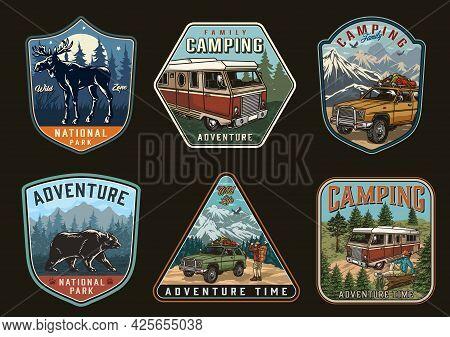 Summer Recreation Vintage Logos With Moose Bear Motorhome Travel Cars Camper Sitting On Wooden Log A