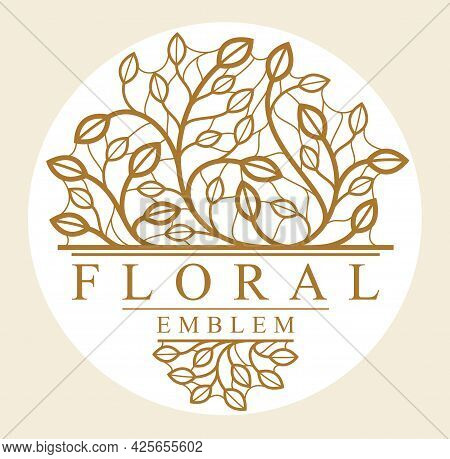 Round Shape Vector Floral Emblem Isolated On White Background, Leaves And Branches Linear Logo In Ci
