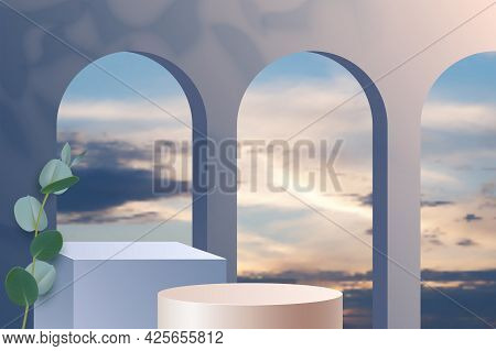 Design Advertising Product Podium Showcase On The Background Of Sunset With Clouds. Background With
