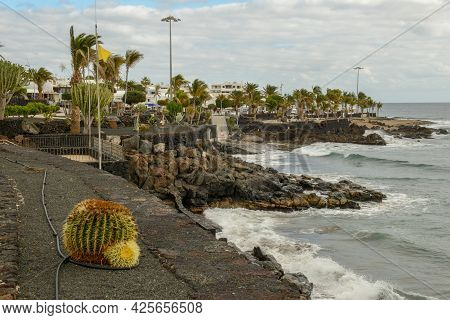 The Seafront At Puerto Del Carmen On Lanzarote Island, Spain