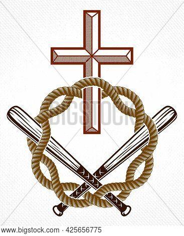 Criminal Gangster Dramatic Emblem Or Logo With Christian Cross Symbolizing Death, Vector Vintage Sty