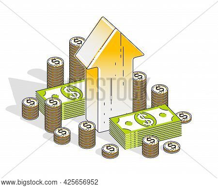 Success And Profit Increase Concept, Up Arrow With Cash Money Stack Isolated On White Background. Ve