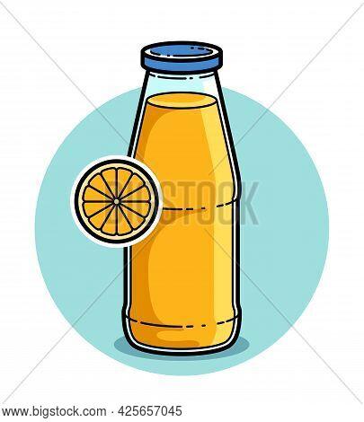 Orange Juice In A Glass Bottle Isolated On White Background Vector Illustration, Cartoon Style Logo